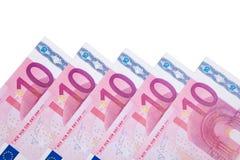 Diversas 10 notas euro Fotos de archivo libres de regalías