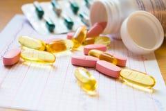 Diversas píldoras en cardiograma Fotografía de archivo libre de regalías
