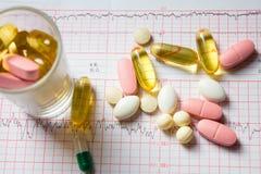 Diversas píldoras en cardiograma Imagen de archivo libre de regalías