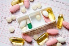 Diversas píldoras en el envase Fotografía de archivo