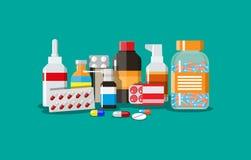Diversas píldoras y botellas médicas Fotografía de archivo libre de regalías