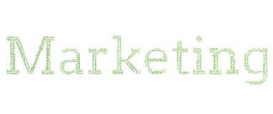 Diversas palabras verdes que deletrean hacia fuera la comercialización Fotos de archivo