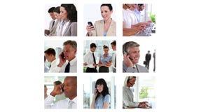 Diversas pantallas que muestran a hombres de negocios libre illustration