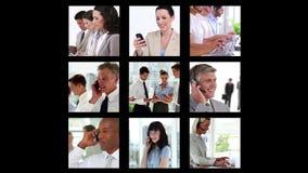 Diversas pantallas que muestran a hombres de negocios stock de ilustración