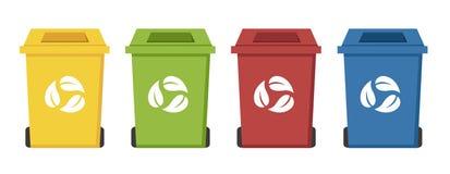 Diversas papeleras de reciclaje del color Fotos de archivo