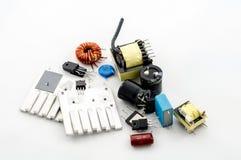 Diversas peças elétricas imagem de stock
