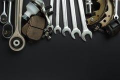 Diversas piezas y herramientas del coche fotos de archivo libres de regalías