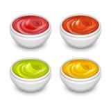 Diversas salsas gastrónomas, mostaza, salsa de tomate, soja, adobo en el pequeño sistema blanco del vector de los platos Imágenes de archivo libres de regalías