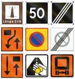 Diversas señales de tráfico usadas en Suecia stock de ilustración