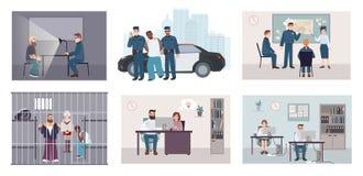 Diversas situaciones en la comisaría de policías La policía de atracción determinada colorida trabaja la detención, interrogación stock de ilustración