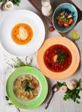 Diversas sopas en una aún-vida en el top para un menú del borsch, sopa poner crema, gospachu, sopa japonesa con los camarones, Imagenes de archivo