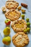 Diversas tartas de las frutas con las manzanas, los ciruelos y las peras frescos en fondo concreto gris Galette sano vegetariano  imagen de archivo libre de regalías