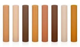 Diversas texturas de los colores de los postes de madera stock de ilustración