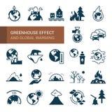 Diversas variantes de los iconos ambientales en el tema de la ecología en estilo plano aislados en el fondo blanco libre illustration
