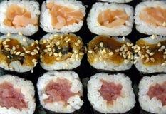 Diversas variedades de sushi Fotografía de archivo