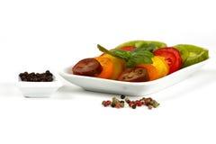 Diversas variedades de tomate orgánico Fotos de archivo