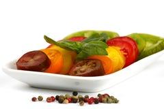 Diversas variedades de tomate orgánico Imagen de archivo