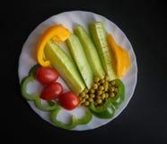 Diversas verduras en una placa Fotos de archivo libres de regalías