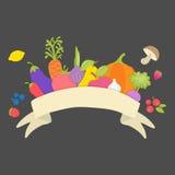Diversas verduras, frutas, bayas y setas y con la costilla ilustración del vector