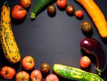 Diversas verduras orgánicas frescas para sano en fondo gris Foto de archivo