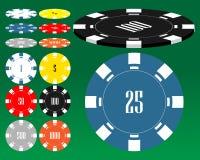 Diversas virutas del casino. Fotografía de archivo