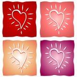 Diverse Achtergronden van het Hart van de Valentijnskaart Stock Afbeelding