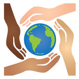 Diverse African American, White, Latino, and Asian Hands Joining Together to Cradle the Blue and Green World. Diverse African American, White, Latino, and Asian Royalty Free Stock Photography
