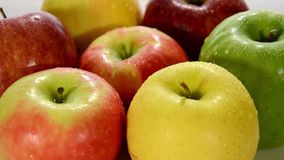 Diverse apples close up stock footage