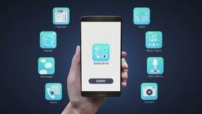 Diverse application mobile émouvante au téléphone intelligent, utilisant le téléphone, Internet, alarme, lecteur de musique, appa illustration de vecteur