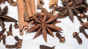 Diverse aromatische kruiden en kruiden op witte achtergrond ST royalty-vrije stock afbeeldingen