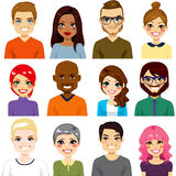 Diverse Avatar Collection. Collection of twelve different people avatar portraits from diverse ethnicity and age Stock Images