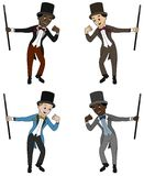 Diverse ballroom dancers - cartoon collection stock illustration