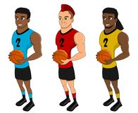 Diverse basketball players - cartoon collection stock illustration