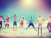 Diverse Beach Summer Friends Fun Jump Shot Concept Royalty Free Stock Image