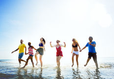 Diverse Beach Summer Friends Fun Running Concept Royalty Free Stock Photography