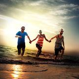 Diverse Beach Summer Friends Fun Running Concept Stock Image