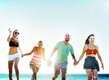 Diverse Beach Summer Friends Fun Running Concept Royalty Free Stock Image