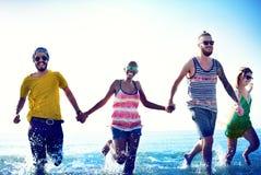 Diverse Beach Summer Friends Fun Running Concept Stock Image