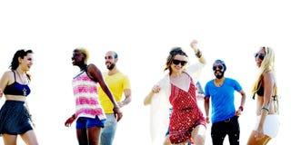 Diverse Beach Summer Friends Fun Running Concept Stock Images