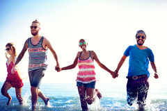 Diverse Beach Summer Friends Fun Running Concept Royalty Free Stock Images