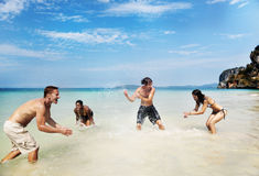Diverse Beach Summer Friends Fun Running Concept. Diverse Friends Beach Summer Friends Fun Running stock photo