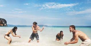Diverse Beach Summer Friends Fun Running Concept. Diverse People Beach Summer Friends Fun stock image