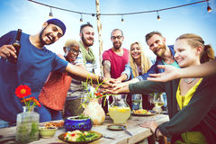 Diverse Beach Summer Friends Fun Teamwork Concept Stock Images