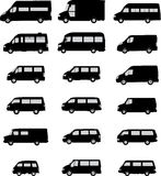 De silhouetten van de bestelwagen royalty-vrije illustratie