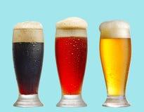 Diverse bierglazen op blauwe achtergrond royalty-vrije stock fotografie