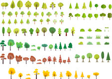 Diverse bomen van de beeldverhaalstijl Stock Foto