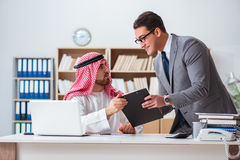 The diverse business concept with arab businessman Royalty Free Stock Photo