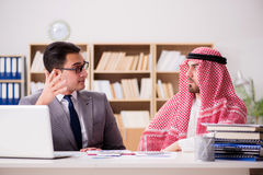The diverse business concept with arab businessman Stock Photos