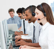 A diverse business group with headset on Royalty Free Stock Image