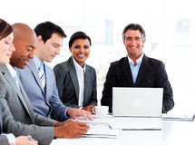 A diverse business group in a meeting Royalty Free Stock Photos